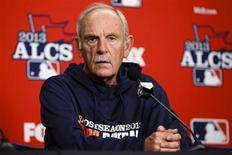 Oct 14, 2013; Detroit, MI, USA; Detroit Tigers manager Jim Leyland (10) talks to the media during practice the day before game three of the American League Championship Series against the Boston Red Sox at Comerica Park. Mandatory Credit: Rick Osentoski-USA TODAY Sports