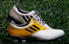 """Adidas golf shoes """"Adizero"""" are pictured during the company's annual news conference in Herzogenaurach March 7, 2013. REUTERS/Michael Dalder"""