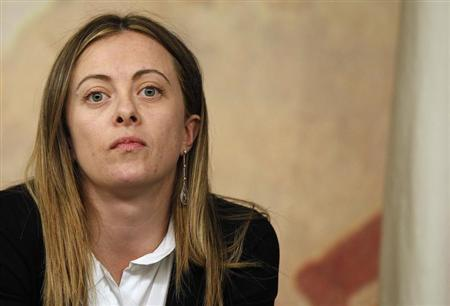 Youth Policies Minister Giorgia Meloni attends a news conference at Chigi palace in Rome February 18, 2011. REUTERS/Tony Gentile