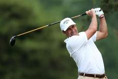 Spain's Jose Maria Olazabal tees off on the second hole during the first round of the 2013 U.S. Open golf championship at the Merion Golf Club in Ardmore, Pennsylvania, June 13, 2013. REUTERS/Adam Hunger