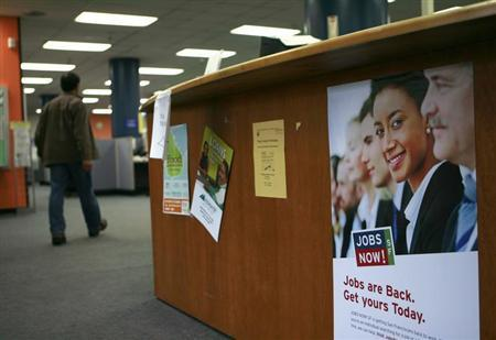 A person enters at a jobs center in San Francisco, California in this February 4, 2010 file photo. REUTERS/Robert Galbraith/Files