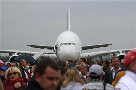 An Airbus A380 plane is seen on display at the MAKS International Aviation and Space Salon in Zhukovsky, outside Moscow August 31, 2013. REUTERS/Maxim Shemetov