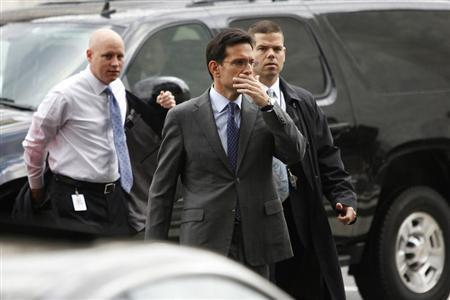 U.S. House Majority Leader Eric Cantor (R-VA) arrives for meetings at the Republican National Committee offices on Capitol Hill in Washington October 23, 2013. REUTERS/Jonathan Ernst