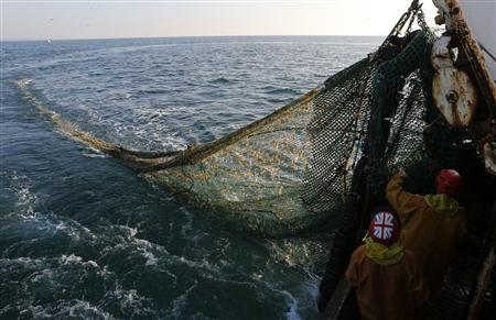 Fishermen on the Boulogne sur Mer based trawler 'Nicolas Jeremy' raise the fishing nets, off the coast of northern France September 23, 2013. REUTERS-Pascal Rossignol