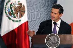 Mexico's President Enrique Pena Nieto speaks during a welcome ceremony for Ireland's President Michael D. Higgins at the National Palace in Mexico City October 21, 2013. REUTERS/Edgard Garrido
