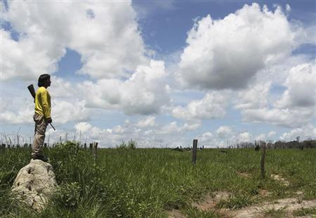 An Indian from Xavantes nation looks into an abandoned farm at Maraiwatsede land in Mato Grosso, about 375 miles (600 km) northwest of Brasilia, February 3, 2013. REUTERS/Paulo Whitaker