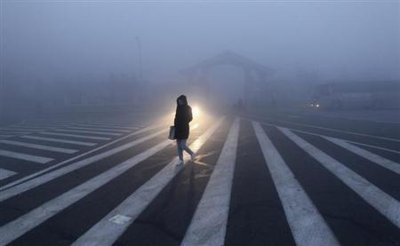 A woman walks along a street during a smoggy day in Changchun, Jilin province, October 22, 2013. REUTERS/China Daily