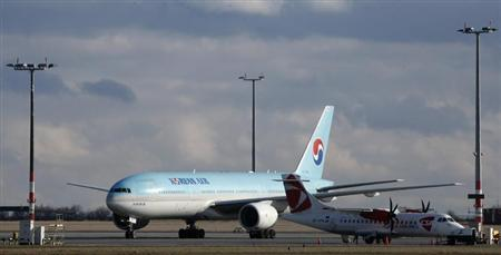 A Korean Air Boeing 777 taxis after its arrival at Prague's Vaclav Havel Airport April 10, 2013. REUTERS/Petr Josek