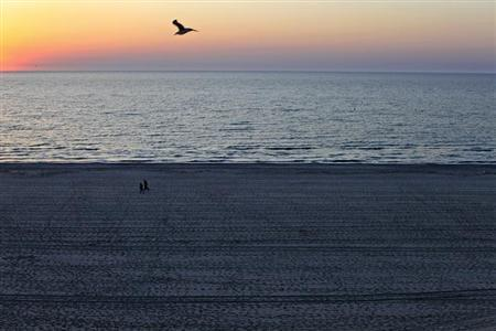 People stroll on the beach at the dawn in the Black Sea resort of Mamaia, about 260km (162 miles) east of Bucharest April 28, 2012. REUTERS/Radu Sigheti