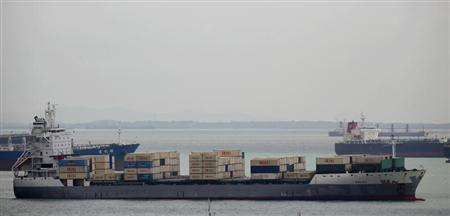Container ship Valili carrying Islamic Republic of Iran Shipping Lines (IRISL) cargo is seen in the waters of Singapore Strait off Sentosa island February 6, 2012. REUTERS/Edgar Su