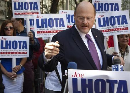 New York City mayoral candidate Joseph Lhota speaks during a campaign stop in New York September 8, 2013. REUTERS/Carlo Allegri