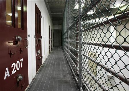 The interior of an unoccupied communal cellblock is seen at Camp VI, a prison used to house detainees at the U.S. Naval Base at Guantanamo Bay March 5, 2013. REUTERS/Bob Strong