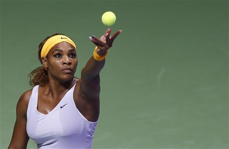 Serena Williams of the U.S. serves during her WTA tennis championships match against Petra Kvitova of the Czech Republic at Sinan Erdem Dome in Istanbul, October 24, 2013. REUTERS/Murad Sezer
