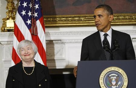 U.S. President Barack Obama announces his nomination of Janet Yellen to head the Federal Reserve at the White House in Washington October 9, 2013. REUTERS/Jonathan Ernst