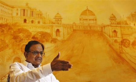 Finance Minister Palaniappan Chidambaram speaks during an interview with Reuters in New Delhi October 7, 2013. REUTERS/Anindito Mukherjee/Files