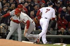 Oct 24, 2013; Boston, MA, USA; St. Louis Cardinals center fielder Jon Jay (19) gets up and runs home to score a run after the ball gets away from Boston Red Sox shortstop Stephen Drew (7) in the 7th inning during game two of the MLB baseball World Series at Fenway Park. Robert Deutsch-USA TODAY Sports