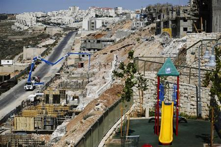 A general view of apartment blocks under construction is seen in the West Bank Jewish settlement of Beitar Ilit, near Bethlehem August 11, 2013. REUTERS/Amir Cohen