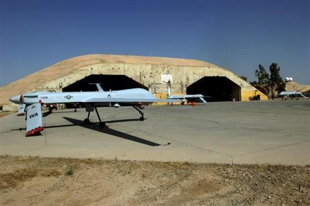 MQ-1 Predators sit on the Bravo South parking ramp at Balad Air Base, Iraq in this undated USAF handout photo obtained by Reuters February 6, 2013. REUTERS/U.S. Air Force/Staff Sgt. Tony R. Tolley
