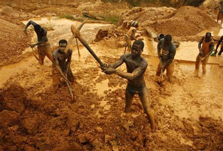 Artisanal miners dig for gold in an open-pit concession near Dunkwa, western Ghana in this February 15, 2011 file photo. REUTERS/Hereward Holland
