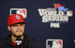 St. Louis Cardinals starting pitcher Joe Kelly (58) talks with the media during a press conference a day before game three of the World Series against the Boston Red Sox at Busch Stadium. Mandatory Credit: Jeff Curry-USA TODAY Sports