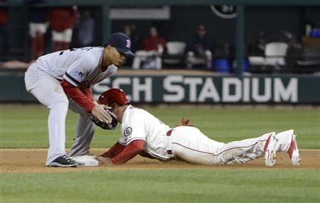 Oct 26, 2013; St. Louis, MO, USA; St. Louis Cardinals second baseman Kolten Wong (right) steals second base ahead of the throw to Boston Red Sox shortstop Xander Bogaerts (72) in the 8th inning during game three of the MLB baseball World Series at Busch Stadium. Mandatory Credit: Eileen Blass-USA TODAY Sports