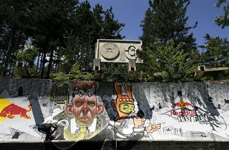 A skater speeds down the former Olympic bobsleigh run at Trebevic hill near Sarajevo during the Red Bull Hot Run race May 31, 2008. REUTERS/Damir Sagolj