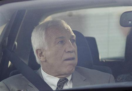Former Penn State University assistant football coach Jerry Sandusky arrives at Centre County Court in Bellefonte, Pennsylvania, June 11, 2012. REUTERS/Pat Little