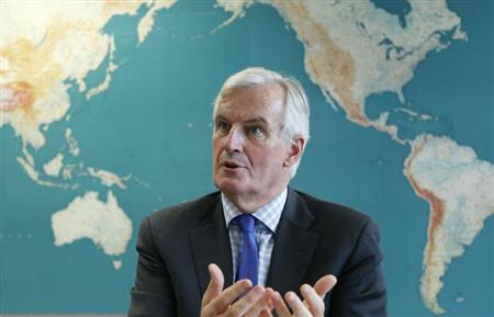 European Commissioner for Internal Market and Services Michel Barnier speaks during an interview with Reuters at the EU Commission headquarters in Brussels October 28, 2013. REUTERS/Francois Lenoir