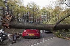 Поваленное ветром и упавшее на машину дерево, в результате чего погибла женщина, в Амстердаме 28 октября 2013 года. Ураганной силы ветры обрушились на северную Европу в понедельник, что привело к гибели более 10 человек, лишило электроснабжения некоторые районы и заставило отменить сотни авиарейсов. REUTERS/Cris Toala Olivares