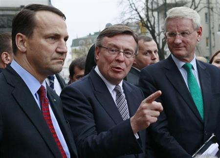 Ukraine's Foreign Minister Leonid Kozhara (C), Poland's Foreign Minister Radoslaw Sikorski (L) and Sweden's Foreign Minister Carl Bildt speak to the media after a meeting with Ukraine's President Viktor Yanukovich in Kiev October 22, 2013.REUTERS/Gleb Garanich