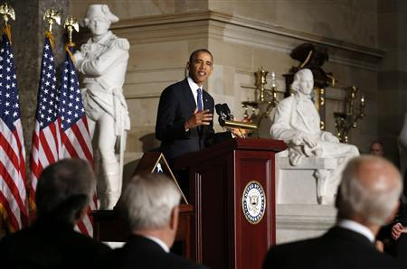 U.S. President Barack Obama delivers his tribute during a memorial service for former Speaker Tom Foley in the Capitol in Washington October 29, 2013. REUTERS/Kevin Lamarque