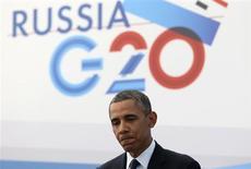 Президент США Барак Обама на пресс-конференции в ходе саммита G20 в Санкт-Петербурге, Россия 6 сентября 2013 года. Россия опровергла публикации, согласно которым её спецслужбы шпионили за сотнями иностранных делегатов на саммите G20 в Санкт-Петербурге с помощью подарочных плюшевых мишек, ежедневников и флэшек. REUTERS/Sergei Karpukhin