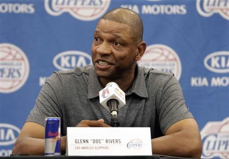Doc Rivers, 51, the Los Angeles Clippers' new head coach and senior vice president of basketball operations, speaks at a news conference at the Clippers' training facility in Playa Vista, California June 26, 2013. REUTERS/Fred Prouser