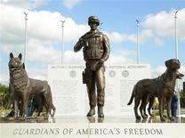 The newly unveiled U.S. Military Working Dog Teams National Monument is seen at Joint Base San Antonio-Lackland, in San Antonio, Texas October 28, 2013. REUTERS/Benjamin Faske/USAF/Handout