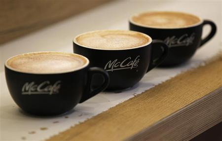 McDonald's McCafe coffees are seen at its Harajuku-Omotesando shop in Tokyo April 29, 2012. REUTERS/Kim Kyung-Hoon