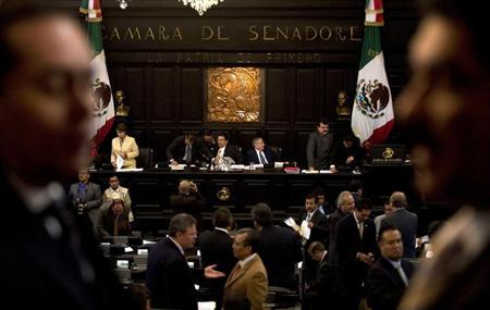 Senators from Mexico's main opposition party debate a proposal to raise consumption taxes, as a way to lower Mexico's dependence on waning oil output, in Mexico City October 27, 2009. REUTERS/Jorge Dan