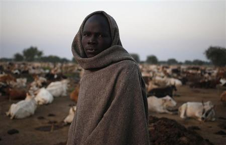 A man from the Dinka Ngok cattle herder tribe stands in a cattle camp near the town of Abyei October 31, 2013. REUTERS/Goran Tomasevic
