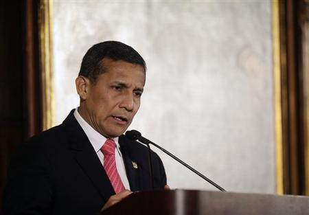 President of Peru Ollanta Humala speaks at the Harvard Club during the United Nations General Assembly in New York September 25, 2013. REUTERS/Joshua Lott