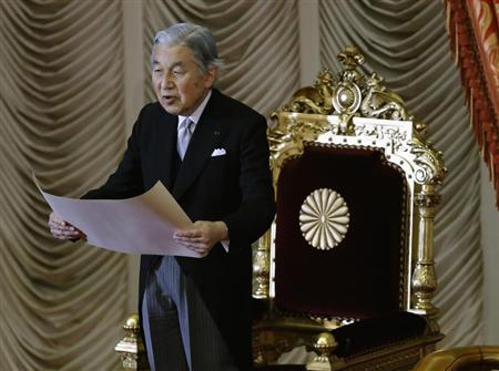 Japan's Emperor Akihito declares the opening of the extraordinary session of parliament in Tokyo October 15, 2013. REUTERS/Toru Hanai
