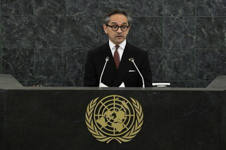 Indonesian Foreign Minister Marty Natalegawa addresses the 68th United Nations General Assembly at U.N. headquarters in New York, September 27, 2013. REUTERS/Eduardo Munoz