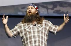 "Willie Robertson of the reality television show ""Duck Dynasty"" speak at the Wal-Mart Stores, Inc. U.S. Associates meeting in Fayetteville, Arkansas June 5, 2013. REUTERS/Rick Wilking"