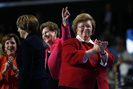 U.S. Senator Barbara Mikulski (D-MD) (R) walks off stage with fellow female members of the U.S. Senate after addressing the second session of the Democratic National Convention in Charlotte, North Carolina September 5, 2012. REUTERS/Jessica Rinaldi