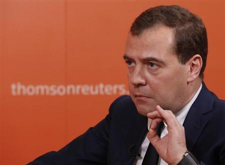 Russia's Prime Minister Dmitry Medvedev speaks during an interview with Reuters in Moscow, October 31, 2013. REUTERS/Grigory Dukor