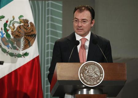 Mexico's Finance Minister Luis Videgaray addresses the audience during a forum organized by Mexico's Central Bank in Mexico City October 14, 2013. REUTERS/Tomas Bravo