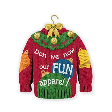 A Hallmark Christmas ornament featuring a sweater with the words ''Don we now our fun apparel'' is seen in an undated handout picture from Hallmark. REUTERS/Hallmark/Handout via Reuters