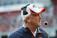 Denver Broncos head coach John Fox watches from the sideline during the second quarter of their NFL pre-season football game against the San Francisco 49ers in San Francisco, California August 8, 2013 file photo. REUTERS/Stephen Lam