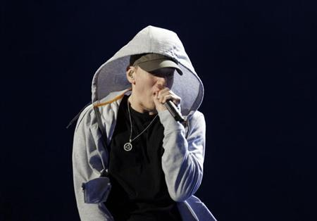 U.S. rapper Eminem performs during the Abu Dhabi F1 Grand Prix After Race closing concert at the du Arena on Yas Island November 4, 2012 file photo. REUTERS/Jumana ElHeloueh