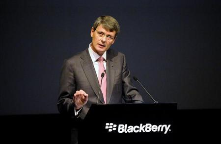 BlackBerry Chief Executive Thorsten Heins speaks at the company's annual meeting in Waterloo, Ontario July 9, 2013. REUTERS/Jon Blacker/Files