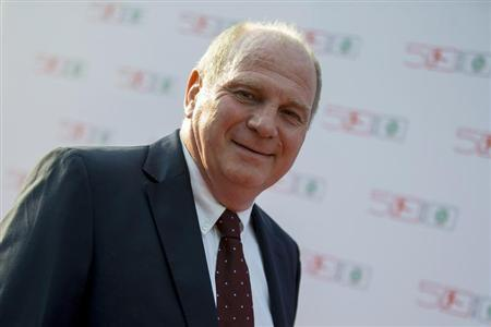 Bayern Munich soccer club president Uli Hoeness arrives at a gala marking the 50th anniversary of the foundation of the German Bundesliga soccer league, in Berlin August 6, 2013. REUTERS/Thomas Peter
