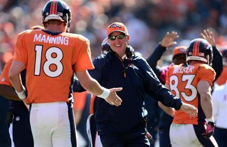 Denver Broncos head coach John Fox reacts to the touchdown pass by quarterback Peyton Manning (18) to wide receiver Wes Welker (83) in the first quarter against the Jacksonville Jaguars at Sports Authority Field at Mile High. Mandatory Credit: Ron Chenoy-USA TODAY Sports